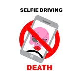 Sign  ban on selfie. Strikethrough phone with skull. Selfie driv Stock Photography