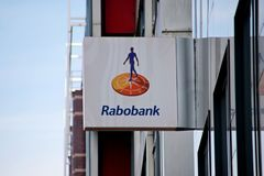 Sign on the bank building of the rabobank in Leiden the Netherlands.  stock photography