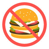 Sign banning fast food. Royalty Free Stock Image