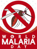 Sign Banning Female Mosquito in World Malaria Day, Vector Illustration. Funny cartoon sign banning the female mosquito in World Malaria Day celebration Royalty Free Stock Photography