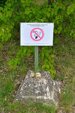 Sign banning Smoking on the grounds of the state Museum-reserve Royalty Free Stock Photo