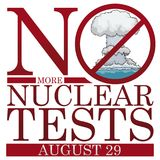 Sign Banning Underwater Atomic Experiments for Day Against Nuclear Tests, Vector Illustration Vector Illustration