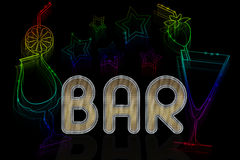 A sign for a bar with cocktails and neon stars Stock Photo