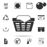 Sign of a basket with linen icon. Detailed set of laundry icons. Premium quality graphic design. One of the collection icons for w. Ebsites, web design, mobile vector illustration