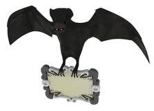 Sign Bat. Cartoon 3d bat with a sign Royalty Free Stock Photo