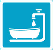 Sign with bathroom and tap Royalty Free Stock Image
