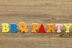 Sign BBQ Party on the wood board Royalty Free Stock Photography
