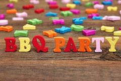 Sign BBQ Party on the wood board Royalty Free Stock Image
