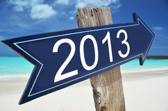 2013 sign. On the beach Stock Photo