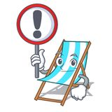With sign beach chair character cartoon. Vector illustration Royalty Free Illustration