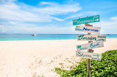 Sign on the beach. Happiness sign Stock Photography