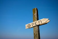 Sign at Beach Open Stock Images