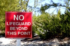 No Lifeguard beyond this point royalty free stock photos