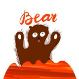Sign Bear with illustration. Vector. royalty free illustration