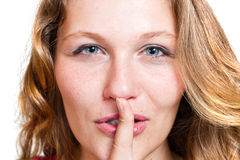 A sign of being quiet- hush Royalty Free Stock Images