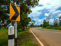Sign for bends. Bends of road in countryside , Thailand Royalty Free Stock Photography
