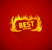 Sign best offer with burning fire silhouette Royalty Free Stock Photography
