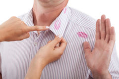 Sign of betrayal. A sign of betrayal on a man's shirt Stock Images
