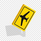 Sign for beware airplane isometric icon Royalty Free Stock Photos