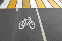 Sign of bicycle. Designation of cycling on a strip of asphalt on the road Stock Photo