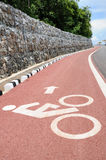 Sign of bicycle lane with arrow direction. Stock Photos