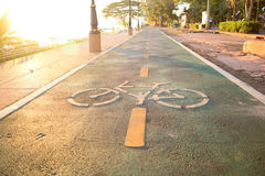 The sign of bicycle lane on cement ground with sun light Royalty Free Stock Image