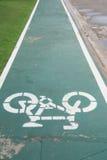 Sign of bicycle lane. Royalty Free Stock Image