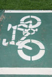 Sign of bicycle lane. Sign of bicycle lane on street stock photography