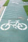 Sign of bicycle lane. Sign of bicycle lane on street Royalty Free Stock Image