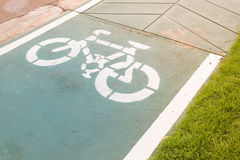 Sign of bicycle lane. Sign of bicycle lane on street Stock Images