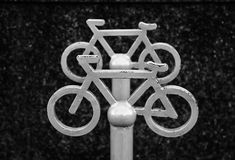 Sign of bicycle parking. Closeup sign of bicycle parking in old city, front view Stock Photography