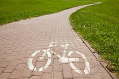 Sign of bicycle road in a city Royalty Free Stock Photography