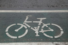 The sign of a bicycle on a street Royalty Free Stock Images