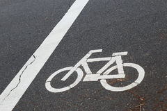 The sign of a bicycle on street Stock Photography