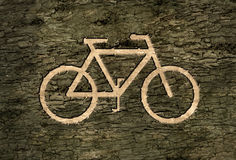 Sign bicycles on the bark Stock Photography