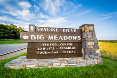 Sign for Big Meadows, along Skyline Drive, in Shenandoah Nationa Royalty Free Stock Image