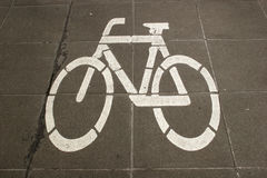Sign of a bike. At a bicycle lane stock photography