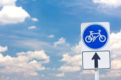 Sign of a bike or bicycle lane Stock Photos