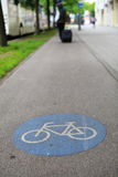 Sign of a bike or bicycle lane Stock Photography