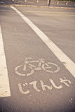 Sign for Bike lane in Japanese language on the road Royalty Free Stock Image