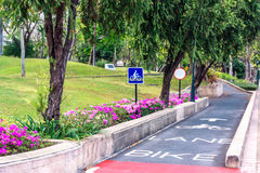 Sign bike lane in the park Royalty Free Stock Photos