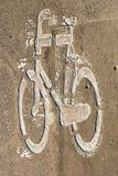 The sign for bike lane. At public road Royalty Free Stock Image