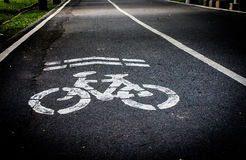 Sign of Bike lane Stock Photo
