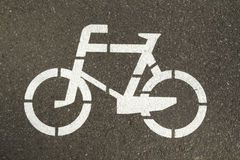 Sign on a bike lane Royalty Free Stock Images