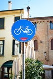 Sign of the bike path with a smile Stock Image