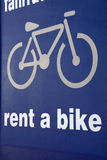 Sign for bike rentals Stock Photos