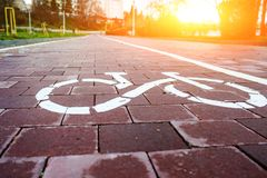 Sign bike route in the future Stock Photos