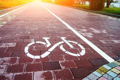 Sign bike route in the future royalty free stock photo
