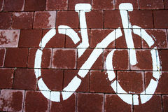 Sign bike route in the future Stock Image