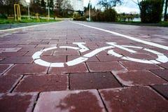 Sign bike route in the future Stock Photo